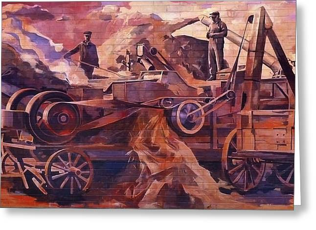 Greeting Card featuring the painting Mural 12x90 Feet Detail Threshing Crew by Tim  Heimdal