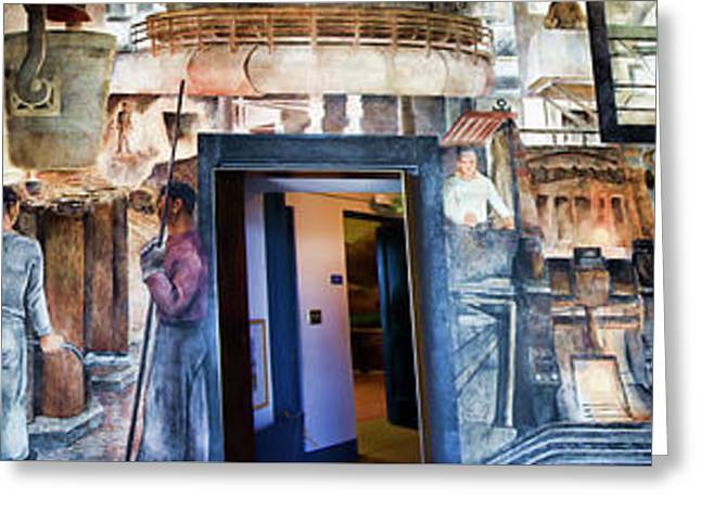 Mural Coit Tower Interior Panorama  Greeting Card