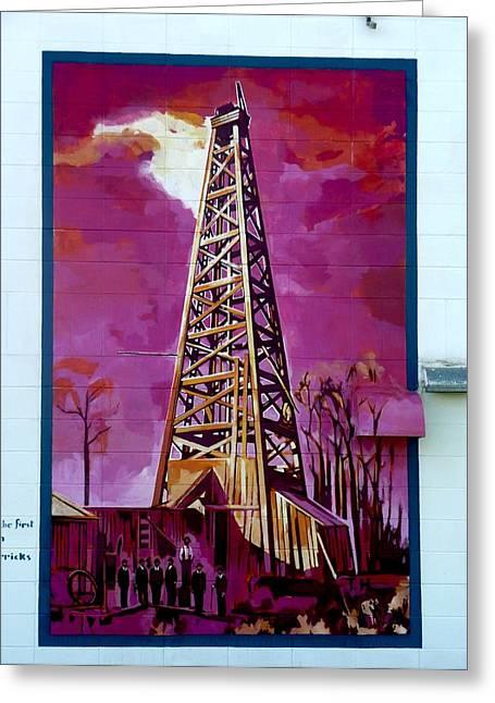 Mural Detail 12x120 Feet Midwest The First Oil Derek In Alberta Greeting Card