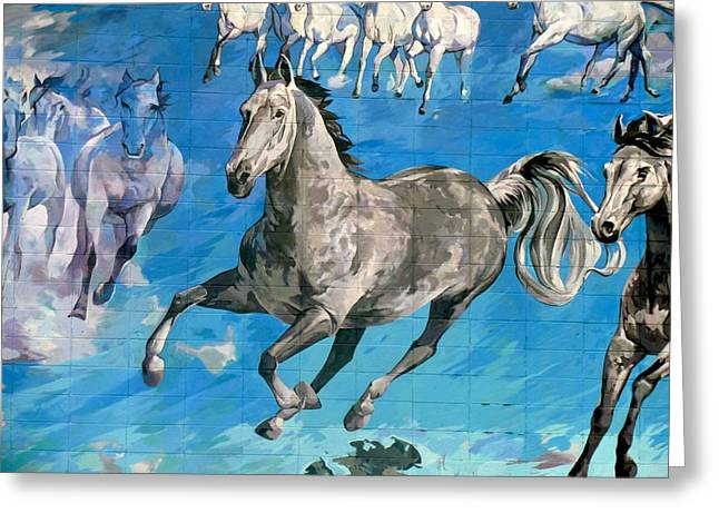 mural detail Equus Descending  Greeting Card by Tim  Heimdal