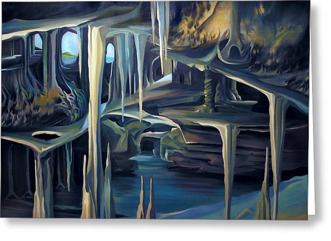 Mural Ice Monks In November Greeting Card by Nancy Griswold