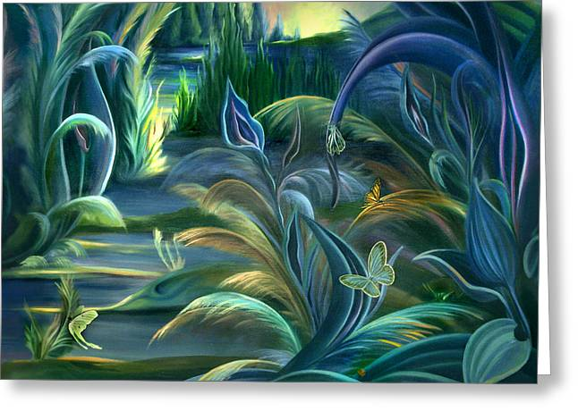 Mural  Insects Of Enchanted Stream Greeting Card by Nancy Griswold