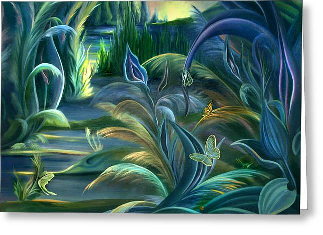 Mural  Insects Of Enchanted Stream Greeting Card