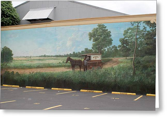 Mural Of Horse And Buggy In Arkansas Greeting Card by Carl Purcell