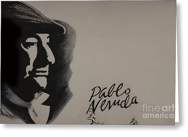 Mural Of Nobel Laureate Poet Pablo Neruda Greeting Card by Al Bourassa