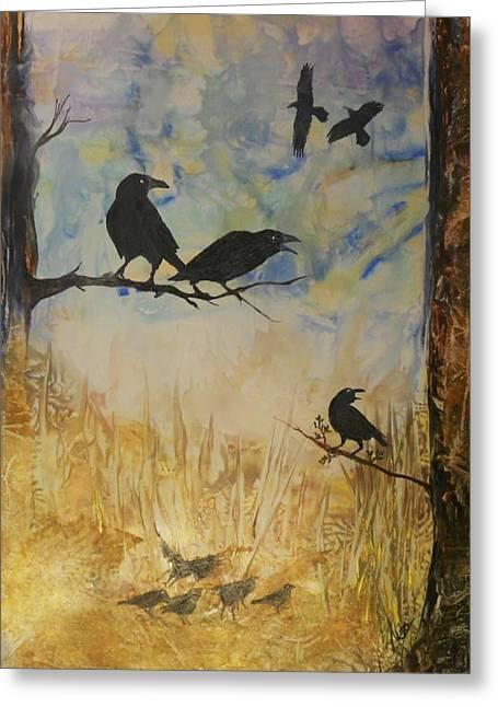 Murder Of Crows Greeting Card by John Vandebrooke