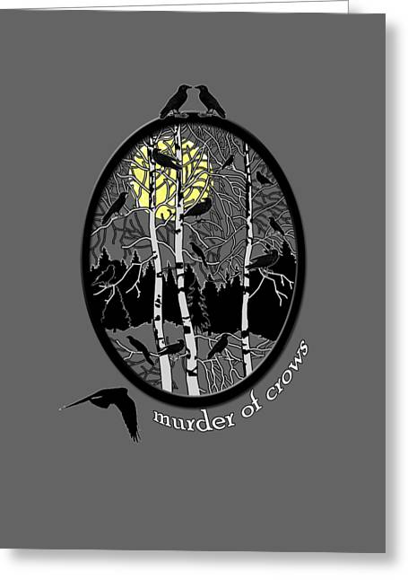 Murder Of Crows Greeting Card by Methune Hively