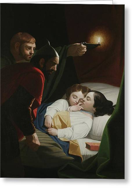 Murder Of The Princes Greeting Card by George Whiting Flagg