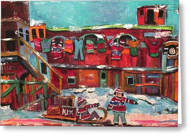 Murray Street Griffintown Memories Greeting Card by Michael Litvack