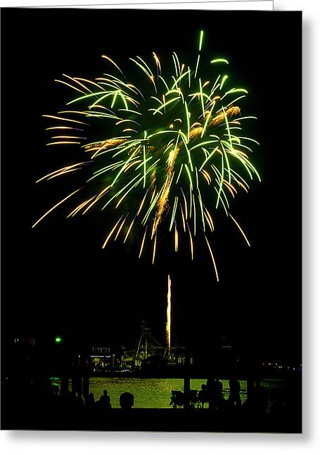 Greeting Card featuring the photograph Murrells Inlet Fireworks by Bill Barber