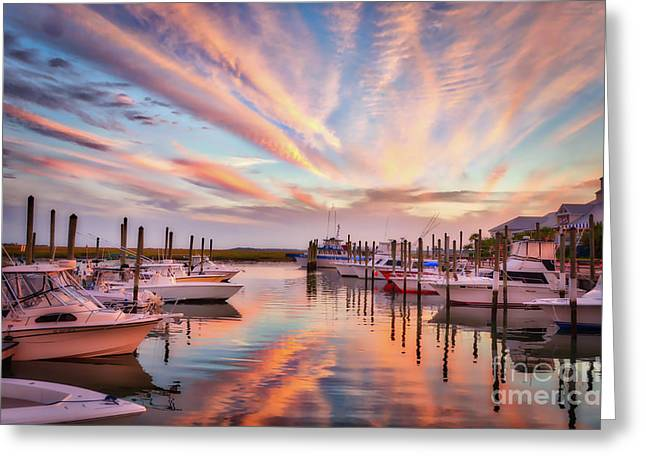 Greeting Card featuring the photograph Murrells Inlet Sunset 2 by Mel Steinhauer