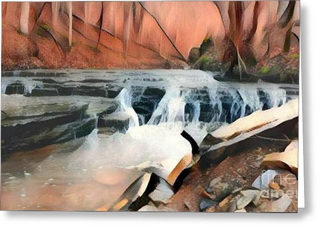 Muscatatuck Falls Autumn Abstract Greeting Card