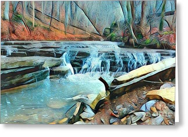 Muscatatuck Falls Touch Of Blue Abstract Greeting Card