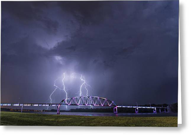 Muscatine Bridge Lightning Greeting Card by Paul Brooks