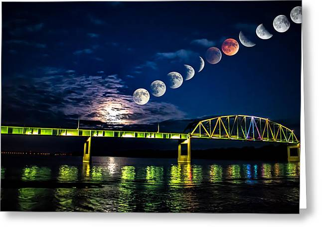 Muscatine Bridge Lunar Eclipse 9-27-15 Greeting Card