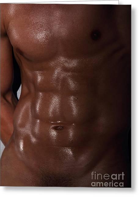 Muscle Man Greeting Card by Mark Ashkenazi