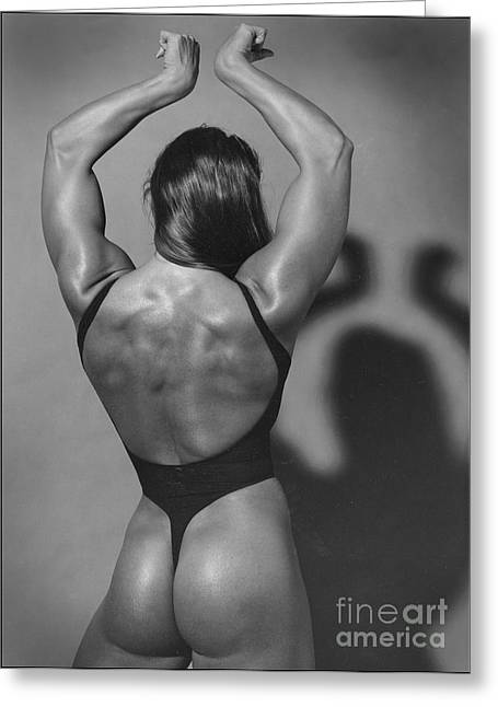 Muscle Woman Greeting Card