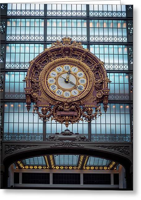 Musee D'orsay Gold Clock Greeting Card by Joan Carroll