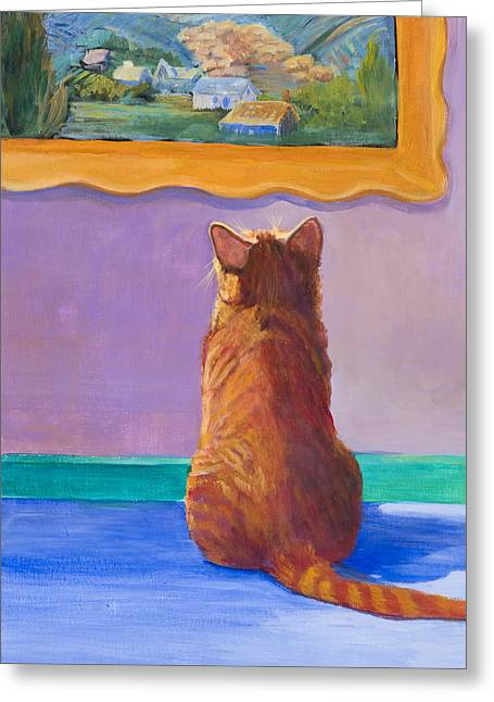 Museum Cat 2 Greeting Card by Jimmie Trotter