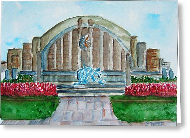 Museum Center Greeting Card by Elaine Duras
