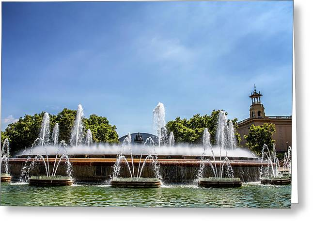 Museum Fountains - Barcelona Greeting Card by Georgia Fowler