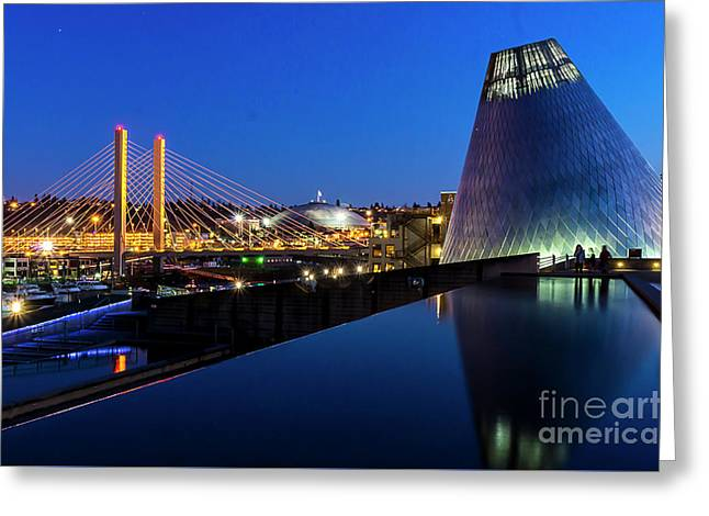 Museum Of Glass At Blue Hour Greeting Card