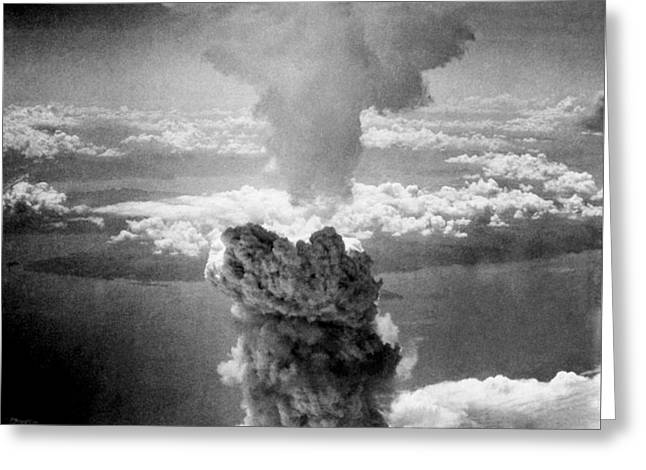 Mushroom Cloud Over Nagasaki  Greeting Card by War Is Hell Store