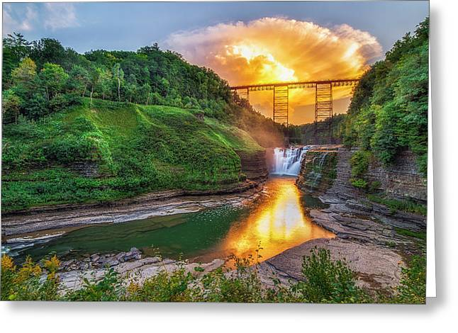 Greeting Card featuring the photograph Mushroom Cloud Over Upper Falls by Mark Papke