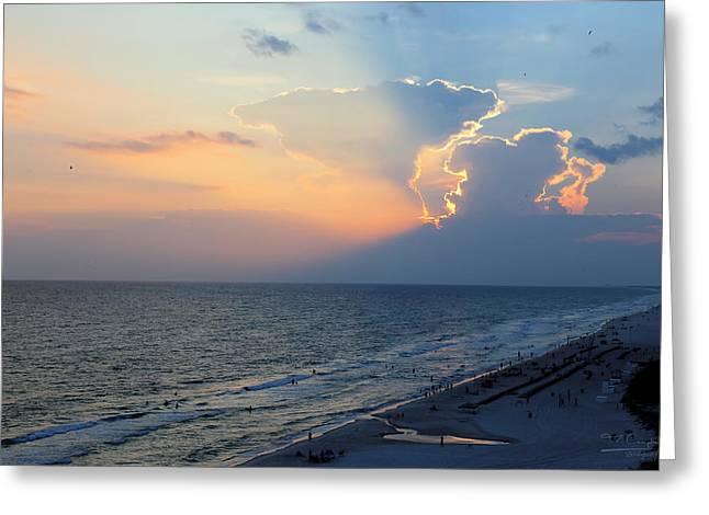 Mushroom Clouds Beach Sunset Greeting Card