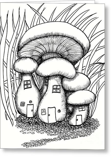Mushroom Fairy Houses And Grass Greeting Card by Dawn Boyer