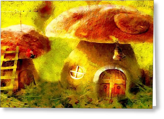 Mushroom House - Da Greeting Card