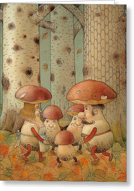 Mushrooms Greeting Card by Kestutis Kasparavicius