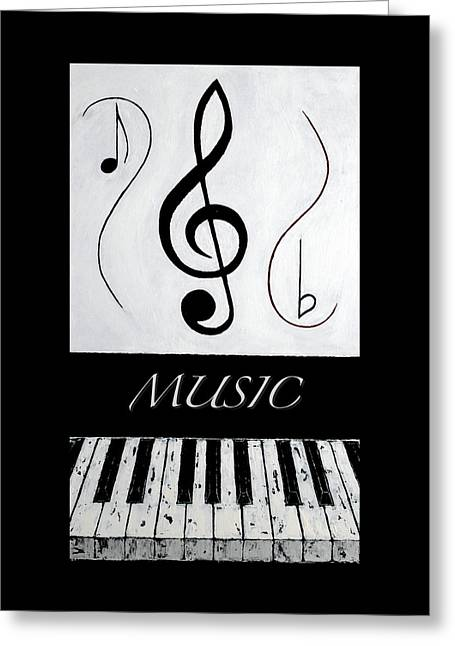 Music 1 - Black Notes Greeting Card