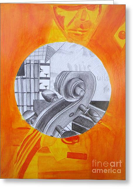 Greeting Card featuring the painting Music 3 by Maria Langgle
