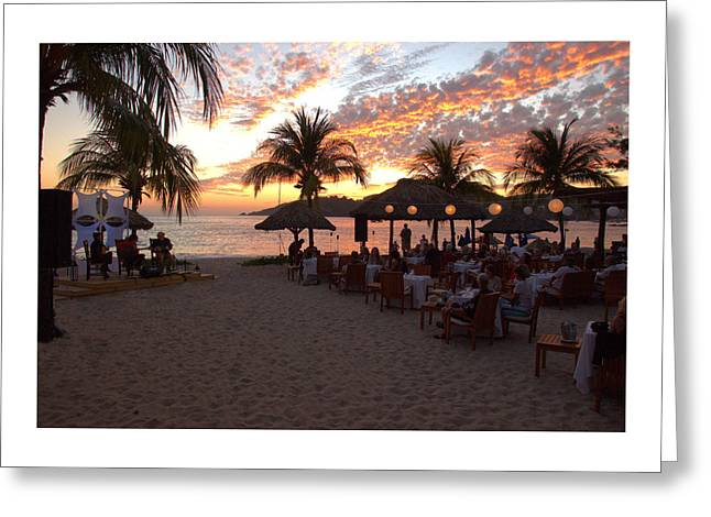 Music And Dining On The Beach Greeting Card by Jim Walls PhotoArtist