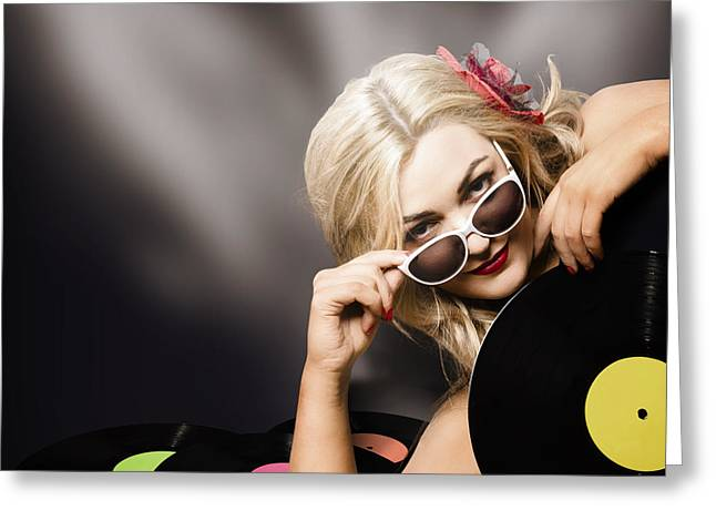 Music Dj Girl Holding Audio Vinyl Record Greeting Card by Jorgo Photography - Wall Art Gallery