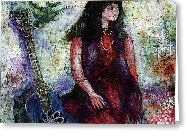 Greeting Card featuring the digital art Music Feeds Her Spirit Too by Claire Bull