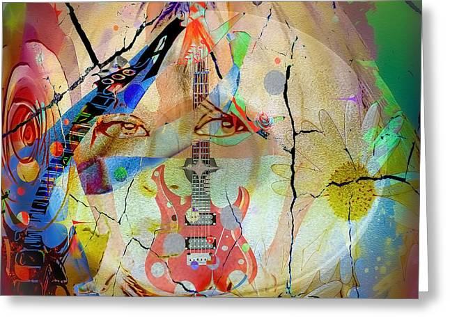 Greeting Card featuring the digital art Music Girl by Eleni Mac Synodinos
