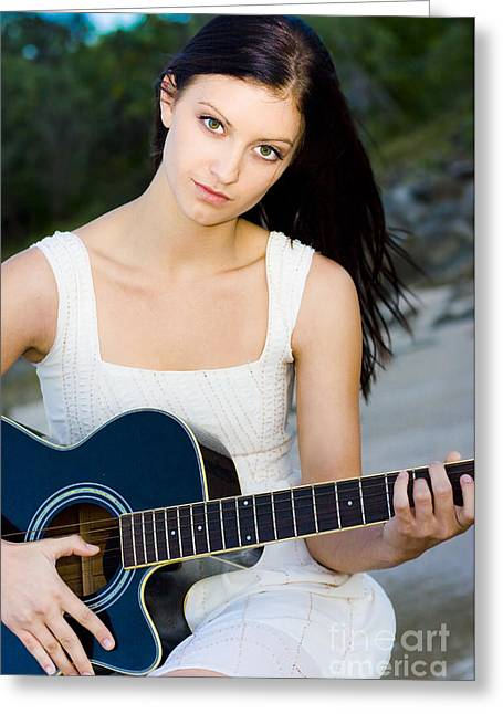 Music Girl Greeting Card by Jorgo Photography - Wall Art Gallery
