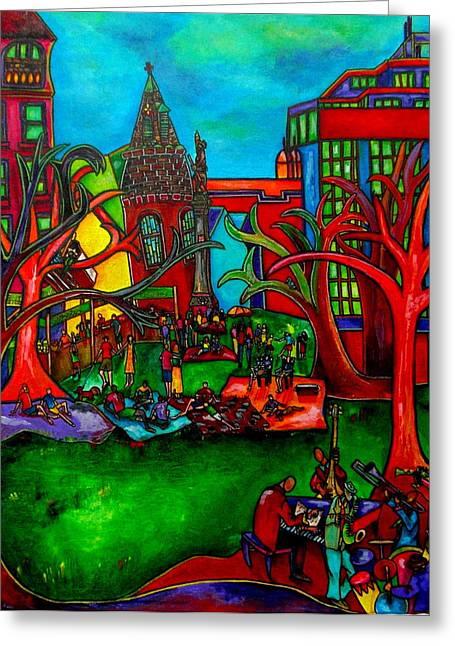 Music In The Park Greeting Card by Patti Schermerhorn