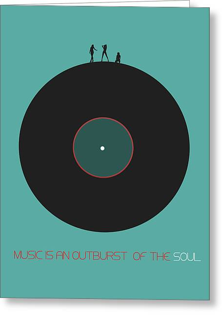 Vinyl Greeting Cards - Music is an outburst of the soul Poster Greeting Card by Naxart Studio