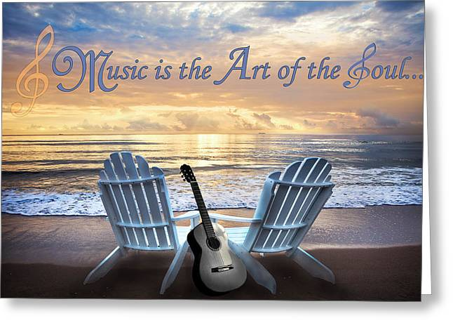 Music Is The Art Of The Soul Greeting Card by Debra and Dave Vanderlaan