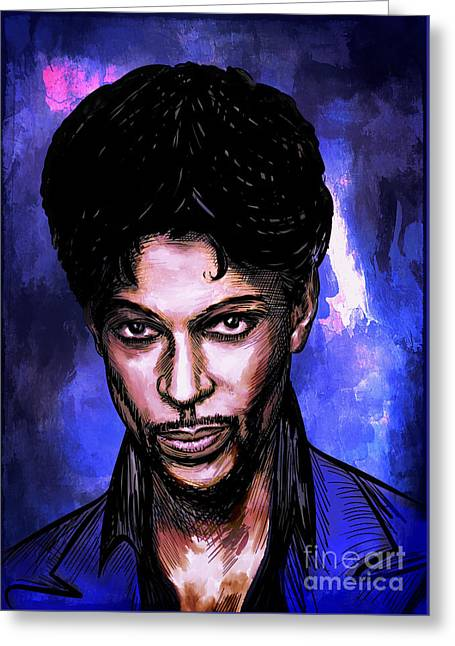 Greeting Card featuring the painting Music Legend  Prince by Andrzej Szczerski