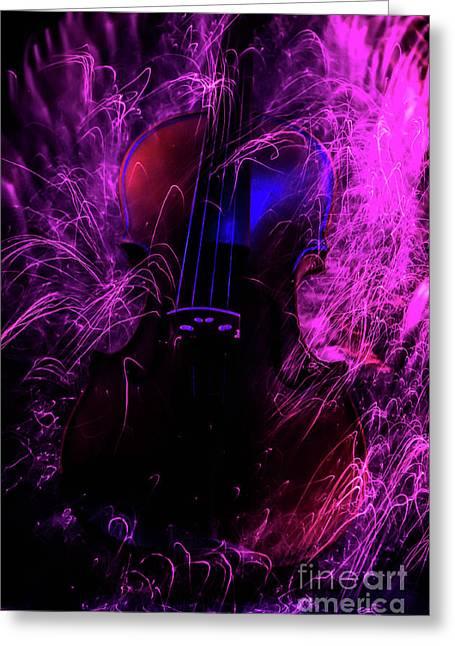 Music Light Painting  Greeting Card