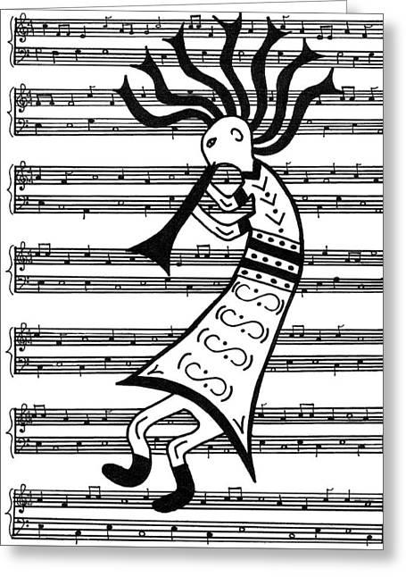 Music Man Kokopelli Greeting Card by Susie WEBER
