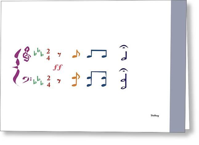 Greeting Card featuring the digital art Music Notes 1 by David Bridburg
