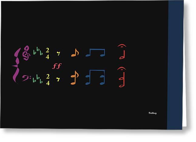 Greeting Card featuring the digital art Music Notes 35 by David Bridburg