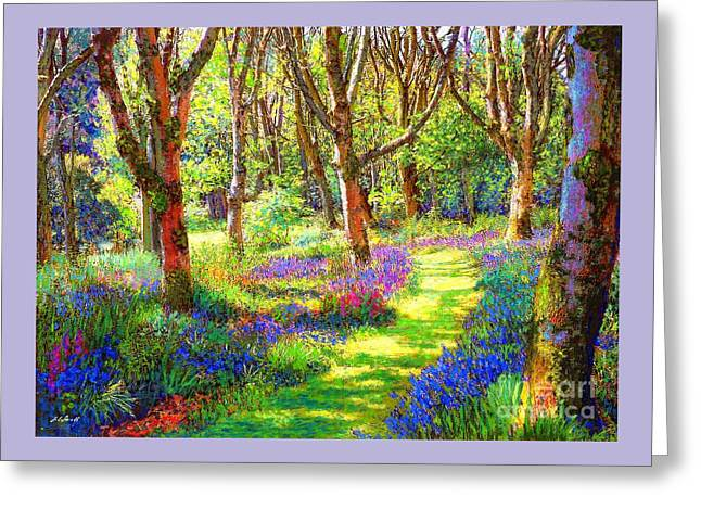 Greeting Card featuring the painting Music Of Light, Bluebell Woods by Jane Small