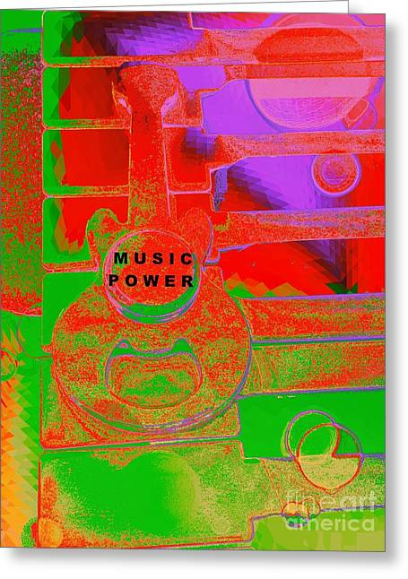 Music Power By Jasna Gopic Greeting Card by Jasna Gopic
