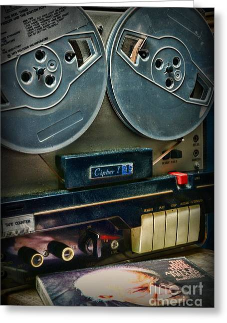 Music- Reel To Reel Tape Deck Greeting Card by Paul Ward